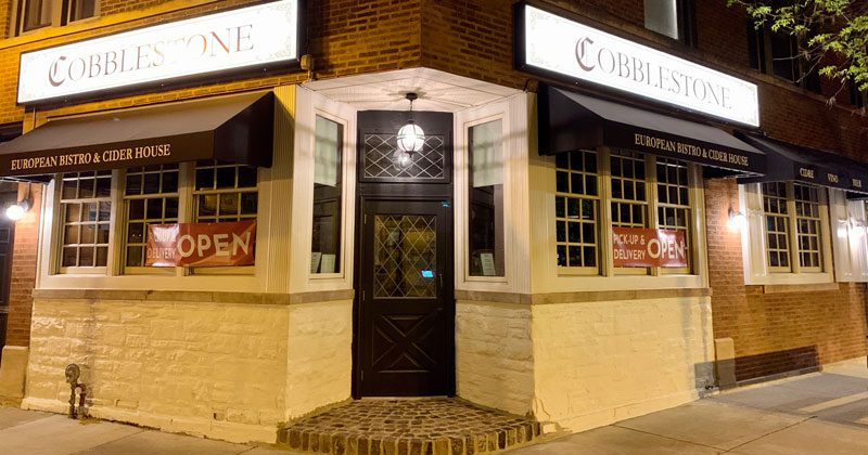 Cobblestone restaurant Chicago - exterior at night