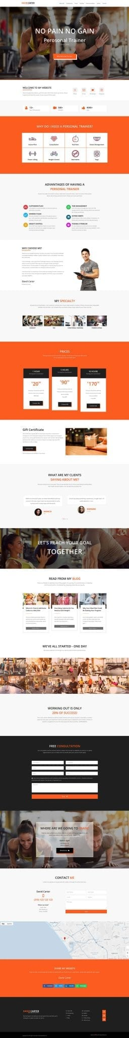 Personal Fitness Trainer Website template - ready made website preview