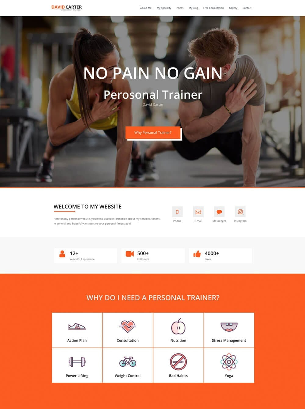 Personal Fitness Trainer Website - template preview 1