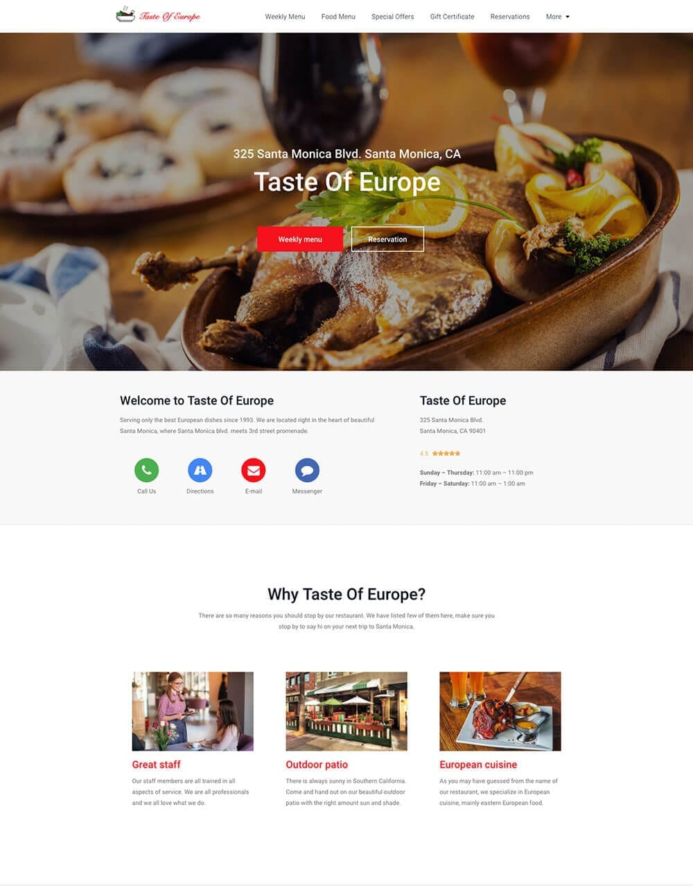 Restaurant website preview 1