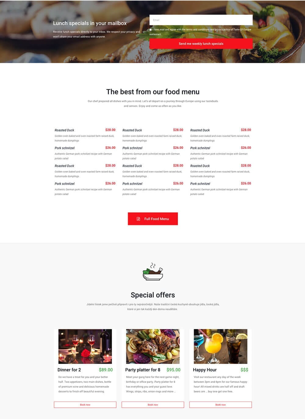 Restaurant website preview 3