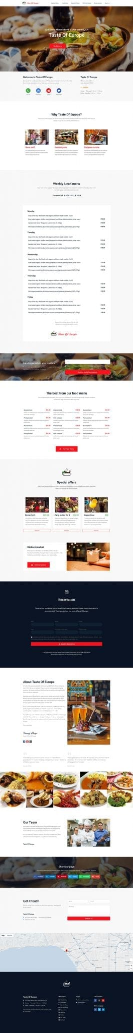 Restaurant website - complete website preview