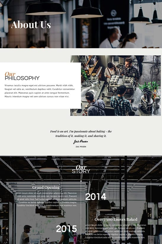 Bakery, Cafe and Restaurant website template design - About page - 1