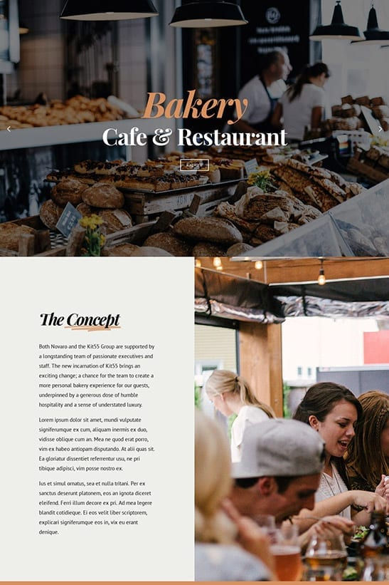 Bakery, Cafe and Restaurant website template design - homepage 1
