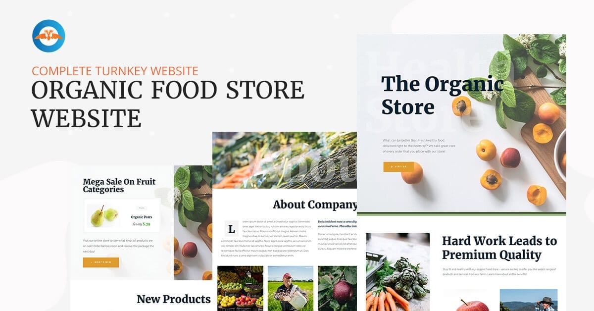 Organic food store website - complete ready made turnkey website