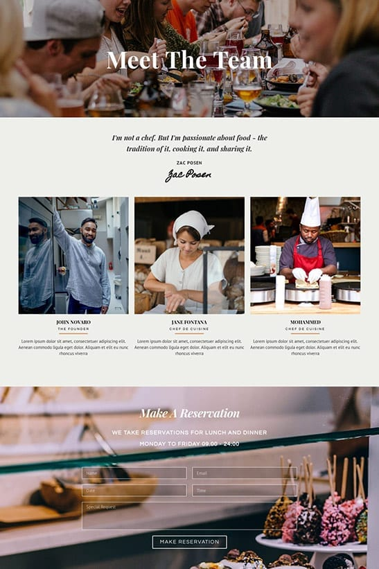 Bakery, Cafe and Restaurant website template design - Team page
