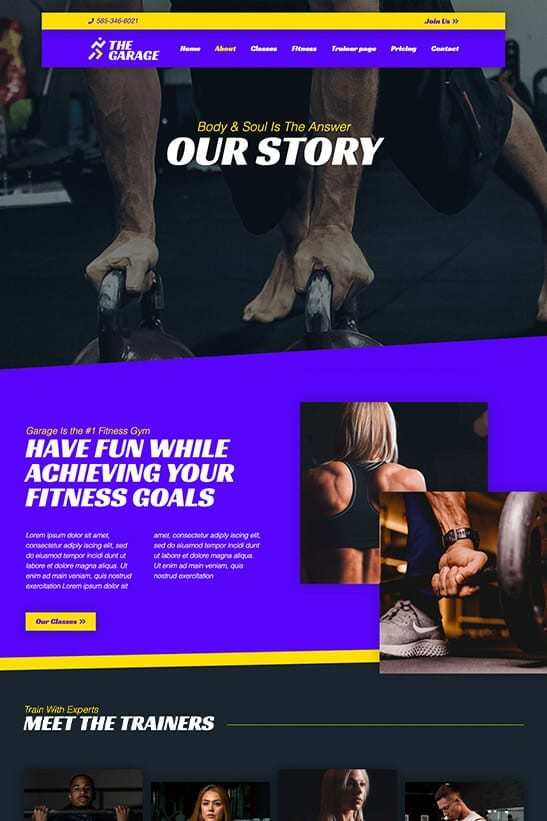 Fitness website theme - About page template