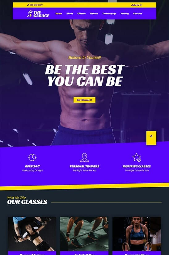 Fitness website theme - Home page template