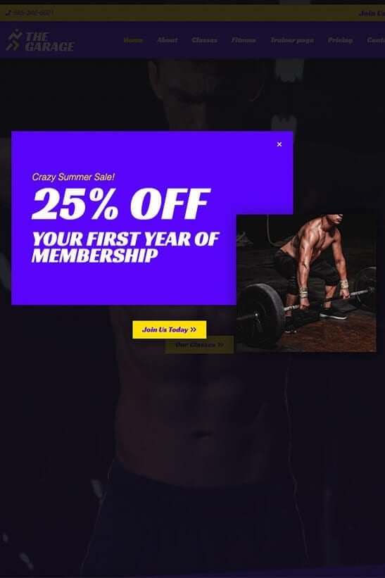 Fitness website theme - PopUp template
