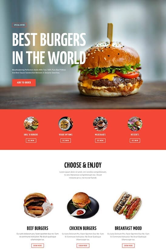 Restaurant website template - home page 1