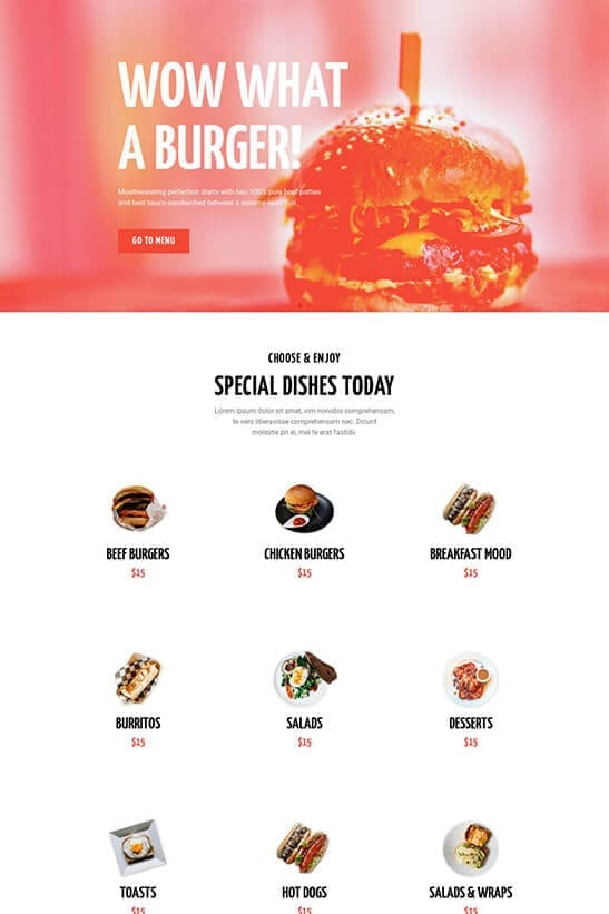 Restaurant website template - home page 3