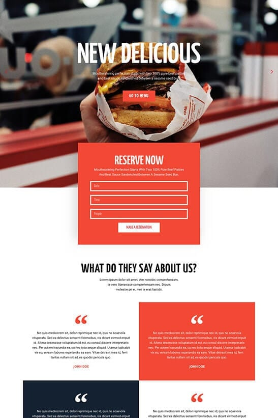 Restaurant website template - home page 4