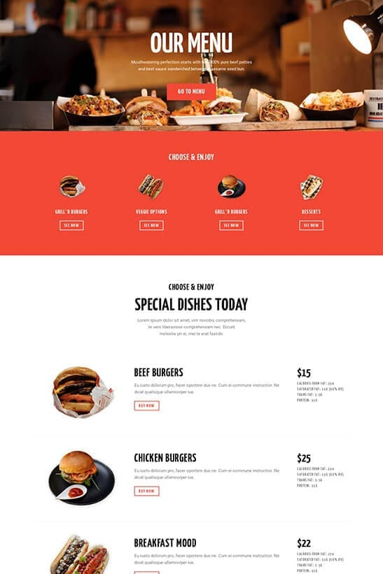 Restaurant website theme - Menu page 1