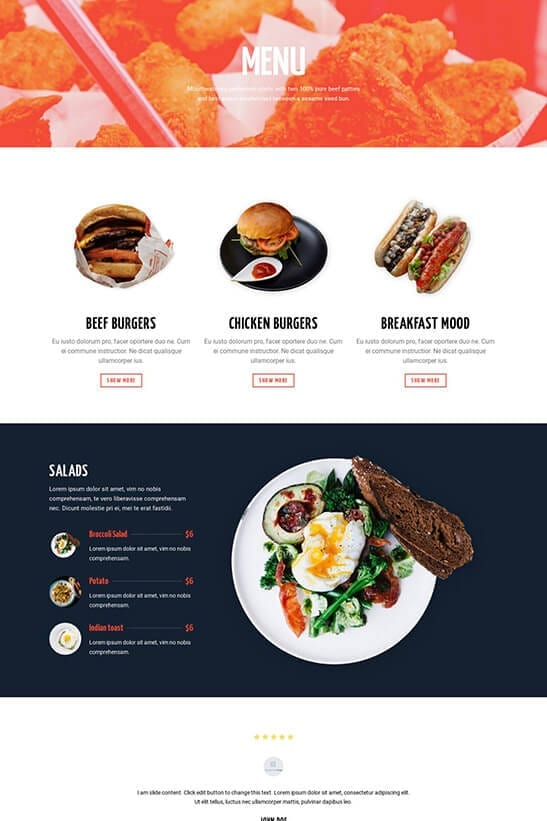 Restaurant website theme - Menu page 3
