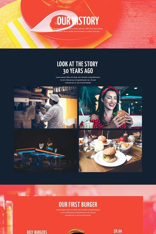 Restaurant website theme - Our history page