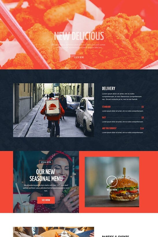 Restaurant website template - services page 2
