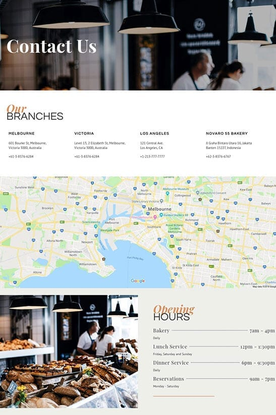 Bakery cafe and restaurant website design - contact page