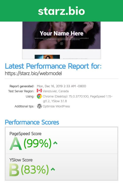 starz.bio - fastest page - website metrix